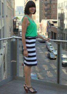 Прямая юбка в полоску