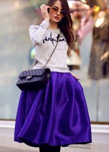 фиолетовая пышная  юбка-миди