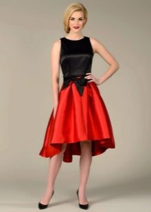 пышная юбка-миди из красного шелка