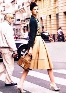 золотисто-бежевая  пышная юбка-миди