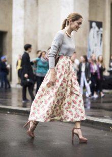 юбка-миди в цветочек