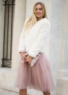 легкая пышная юбка-миди