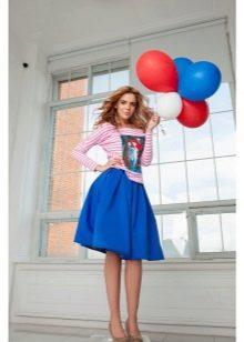 ярко-синяя пышная  юбка-миди