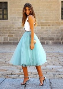 воздушная юбка-миди цвета мяты