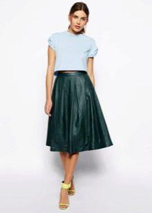 темно-зеленая юбка-миди