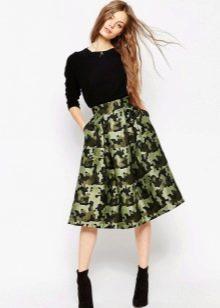 юбка-миди цвета хаки