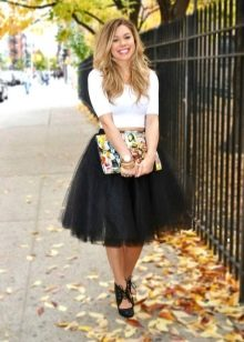Черная пышная юбка с кружевом