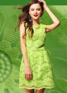Кружевное салатовое платье
