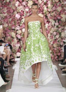 Салатово-белое платье