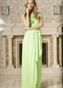 Длинное салатовое платье