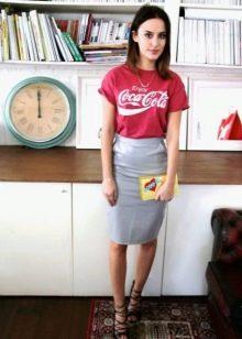 Серая юбка карандаш из кожи