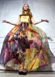 разноцветная юбка из шифона