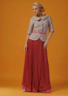юбка-плиссе  в пол  из оранжевого шифона