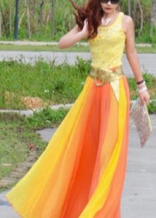 юбка из шифона градиентной расцветки