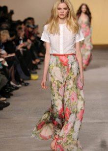 юбка в пол из шифона с цветочным принтом