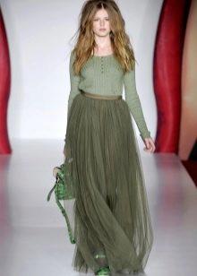зеленая юбка в пол из шифона