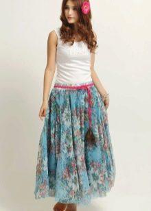 шифоновая юбка с цветами
