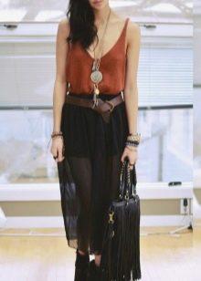 шифоновая юбка в городском стиле