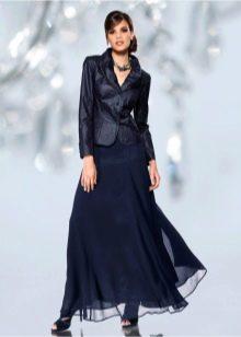 юбка-макси из черного шифона