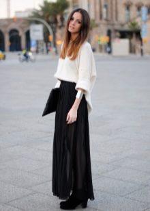 черная юбка-макси из шифона