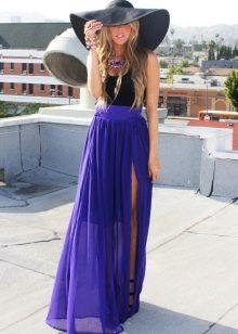 юбка с разрезом из фиолетового шифона