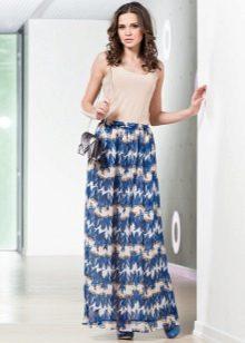 шифоновая юбка с растительным орнаментом