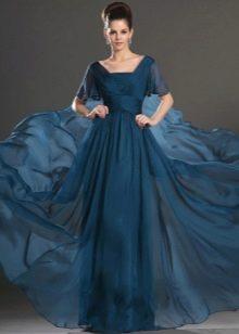 роскошная юбка из темно-синего шифона