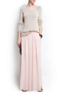 нежно-розовая юбка из шифона