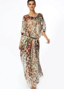 юбка из шифона с растительным орнаментом