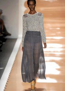 легкая юбка из серого шифона