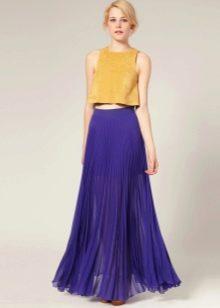 фиолетовая юбка из шифона