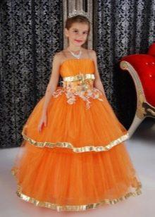 Шикарное желтое пышное платье для девочки