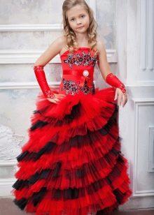 Шикарное многоярусное  бальное платье для девочки