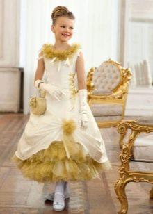 Шикарное  новогоднее золотистое пышное платье  для девочки