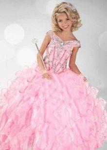Шикарное бальное платье для девочки со стразами