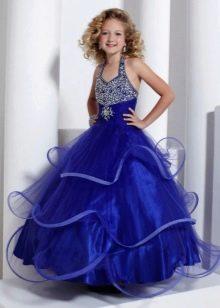 Шикарное бальное платье для девочки расшитое стразами