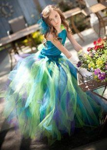 Шикарное  пышное платье для девочки разноцветное