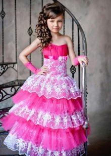 Шикарное бальное платье для девочки с кружевом