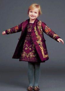 Расклешенное зимнее платье для девочек