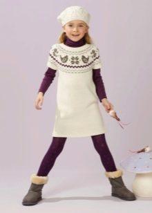 Зимнее платье-туника белое  для девочек