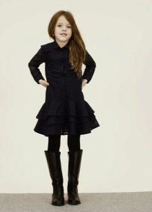 Зимнее платье-рубашка в школу для девочек