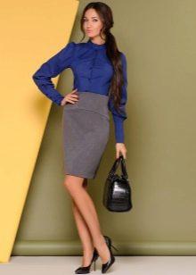юбка-карандаш средней длины с широким поясом