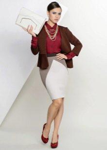 юбка-карандаш средней длины с клином