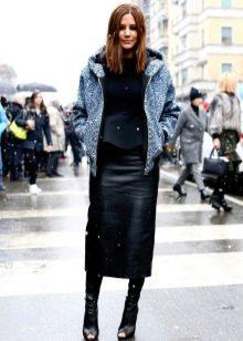юбка-карандаш средней длины для зимы