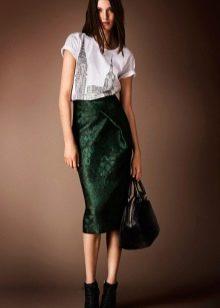 юбка-карандаш средней длины из зеленого сатина