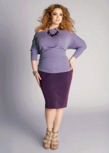 лиловая  юбка-карандаш для полных женщин