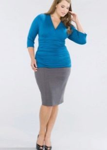 серая  юбка-карандаш большого размера
