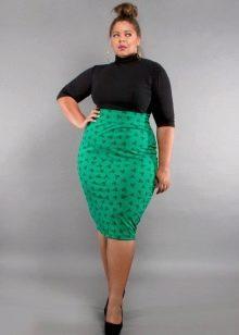 зеленая  юбка-карандаш с рисунком для полных женщин