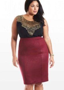 летняя бордовая  юбка-карандаш для полных женщин