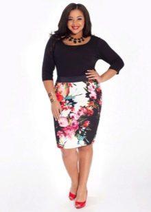 летняя  юбка-карандаш с цветочным принтом для полных женщин